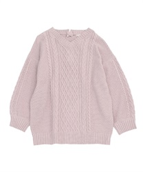 Lace-up knit tunic(Pale pink-Free)