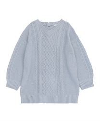 Lace-up knit tunic(Saxe blue-Free)